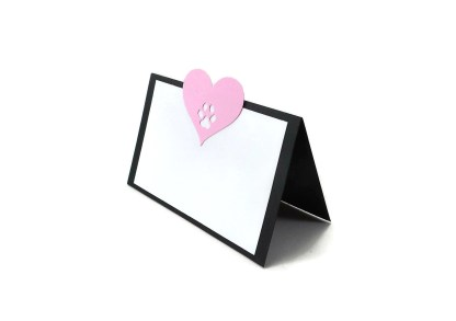 Pink Heart Dog Party Place Cards, The Misfit Manor Shp