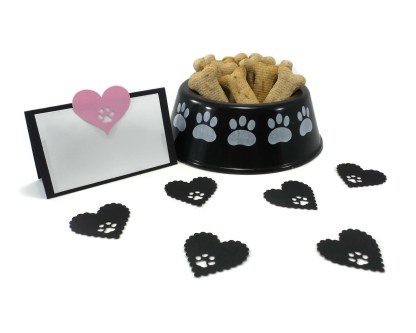 Pink Heart & Paw Print Dog Party Place Cards, Misfit Manor Shop