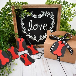 Red Dog Bone Gift Tags, Misfit Manor Shop