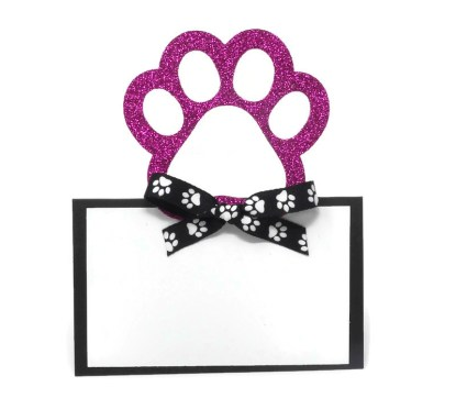 Sparkly Pink Paw Print Party Place Cards