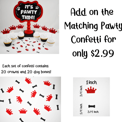 Red Crown Paw Print Cup Cake Topper
