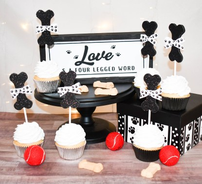 Dog Bone Cup Cake Toppers - Misfit Manor Shop