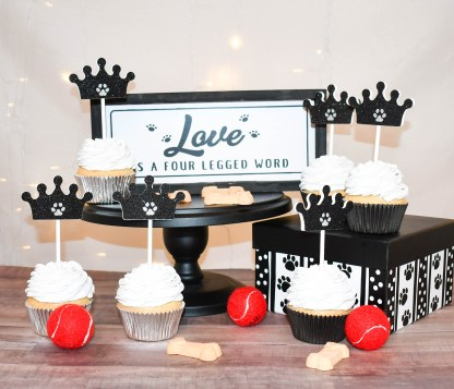 Black Crown Paw Print Cup Cake Toppers