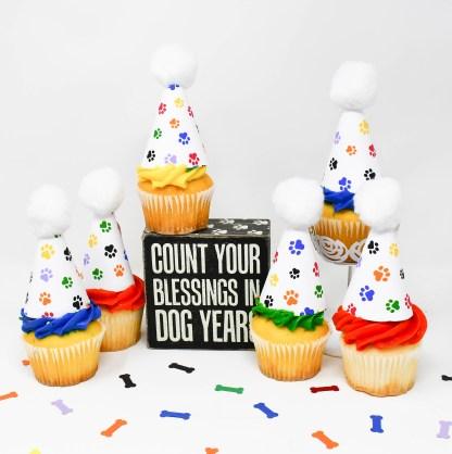 Rainbow Paw Print Cupcake Toppers