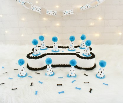 Blue Paw Print Mini Party Hat