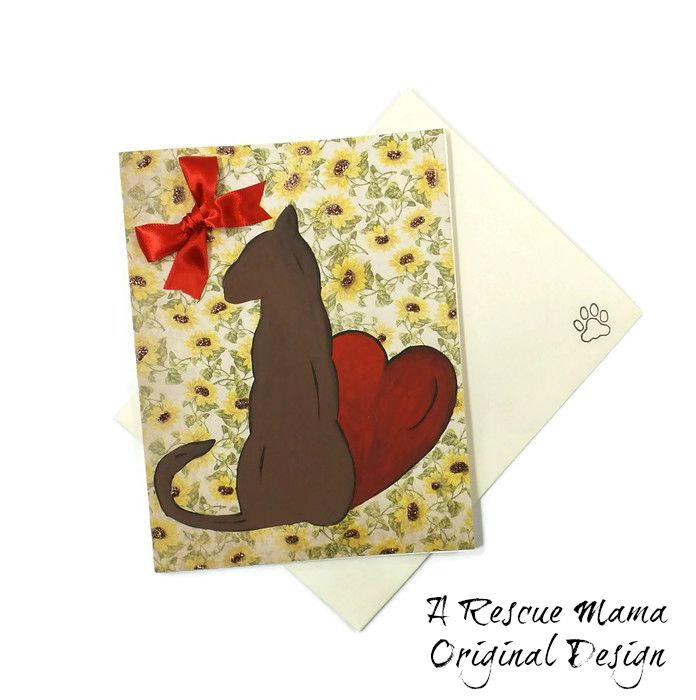 Cat Sympathy Card Hand Painted