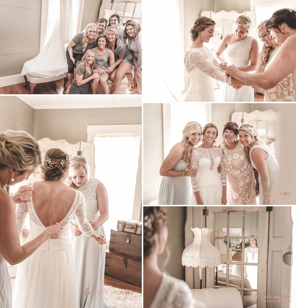 lace bridal gown with bridesmaids