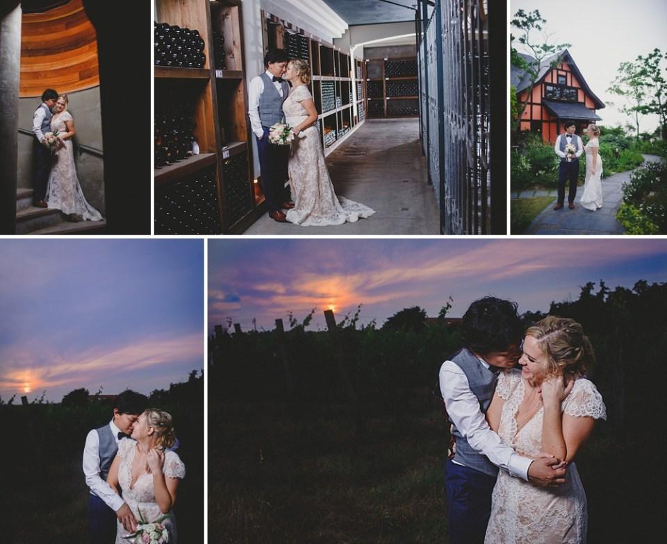 dramatic wedding photos with sunset