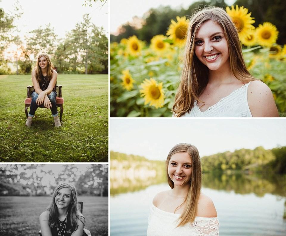 senior photos in sunflower field