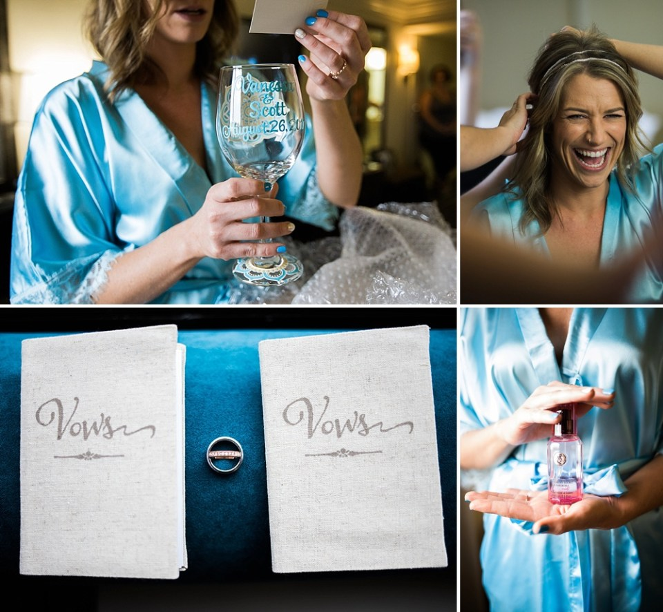 light blue wedding details with rings and vows