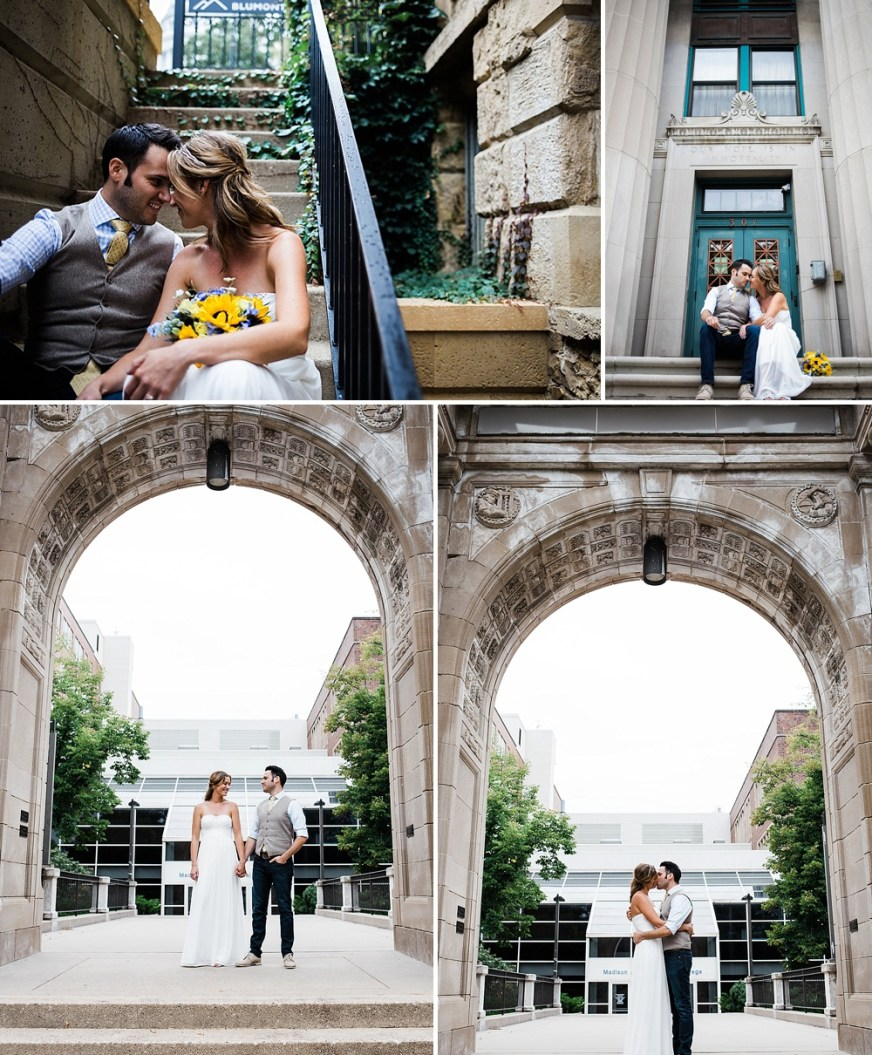 intimate portraits of bride and groom on overcast wedding day