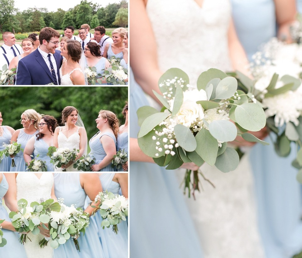 light blue bridesmaids gowns