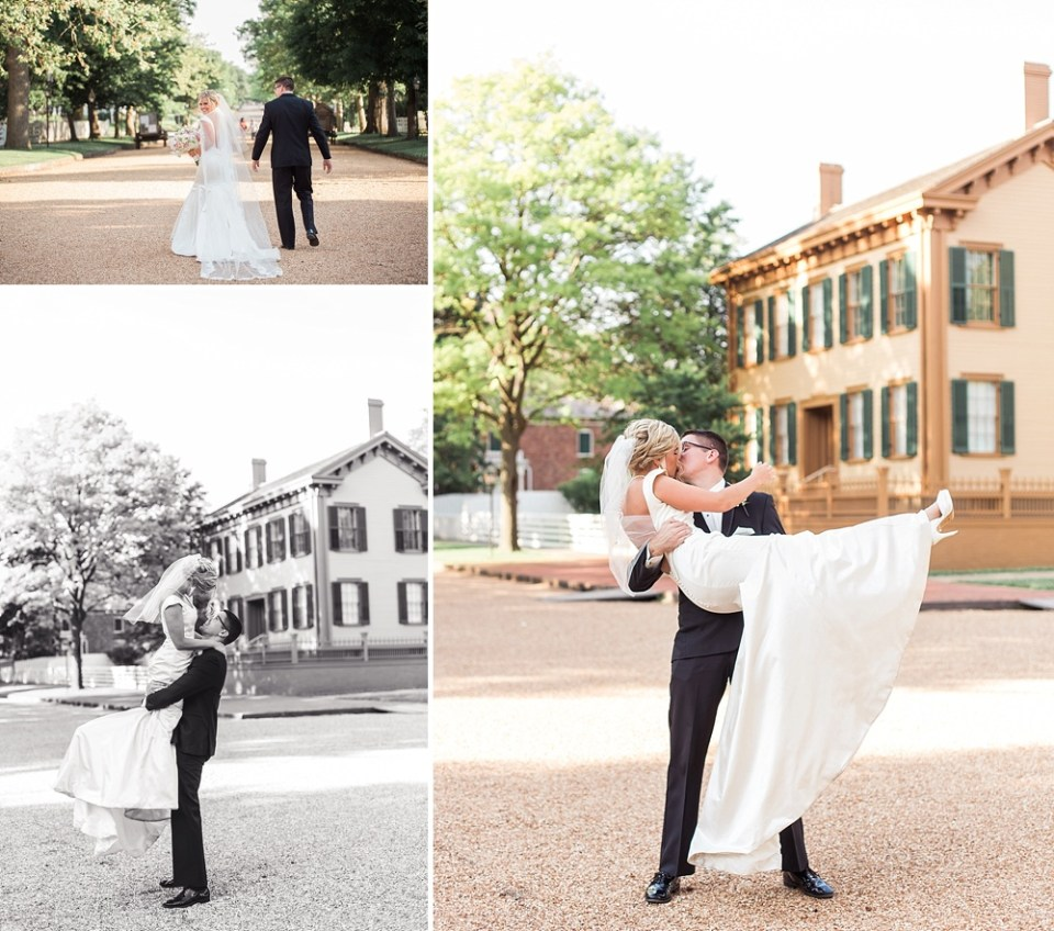 bride and groom posing at Lincoln's home