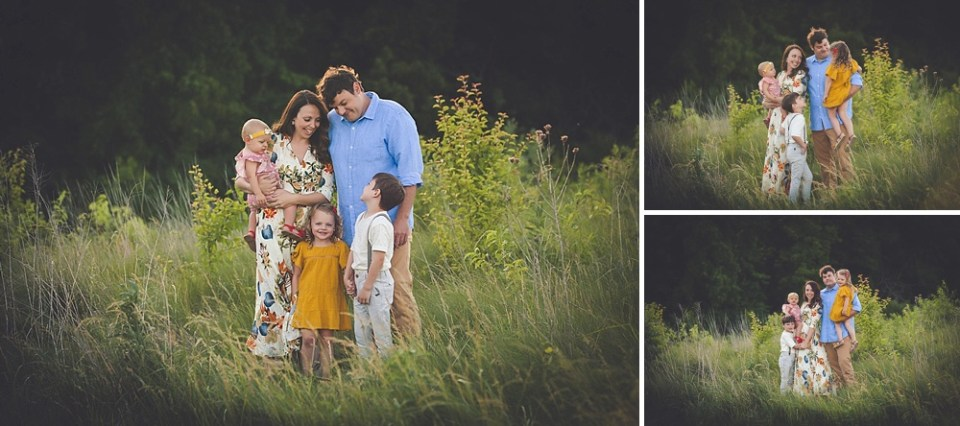 family photos in wildflower field