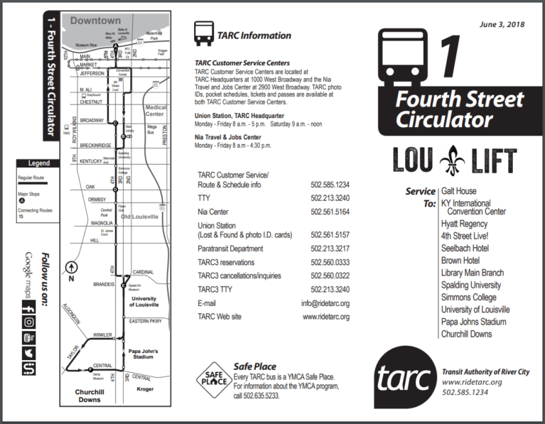 Louisville free trolley map and schedule