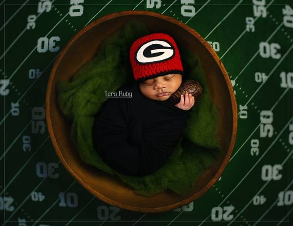 Georgia Bulldogs newborn football photo