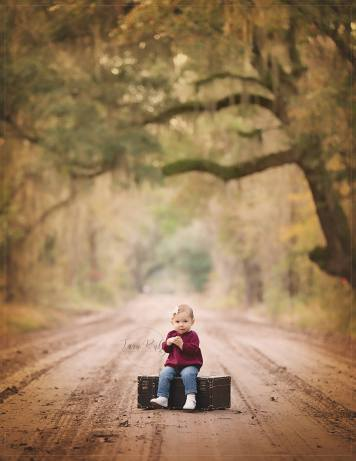southern moss trees child photograph with suitcase seat