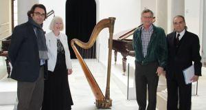 Marion Leigh donates harp