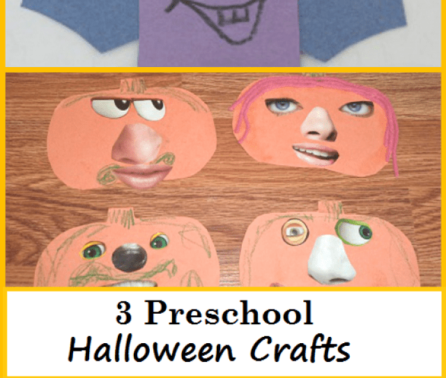 3 Preschool Halloween Crafts Simple Pumpkin Crafts And Purple People Eater Craft