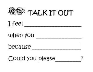 Talk it out sentence stems reproducible anchor chart