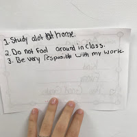 Examples of students personal reflections of the reputation they want and how to achieve it.