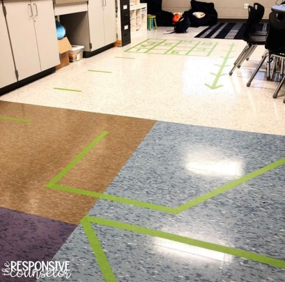 tape arrows on the floor for body movement