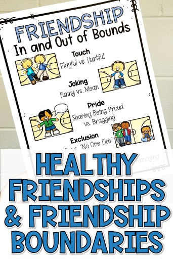 Teaching kids about healthy friendships and friendship boundaries pin for later