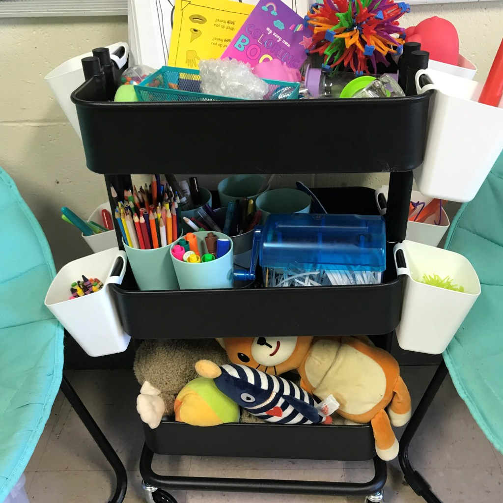 school counseling cart of supplies