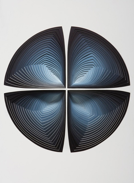 """""""Indigo Gradation Out"""", 2ply rising board with pigment - size : 24"""" x 34"""""""
