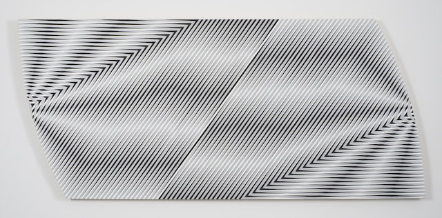 Gilbert Hsiao, 'Dual', 2008, acrylic on shaped panel, 36 x 80 inches.