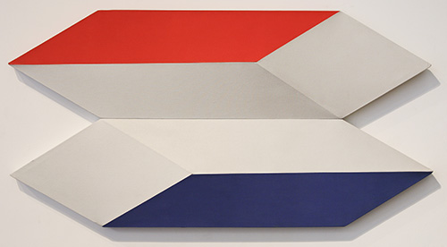Charles Hinman, 'Docking In Space', 1970,Shaped canvas, 28.75 x 56.5 x 5 in (74 x 144 x 13 cm).