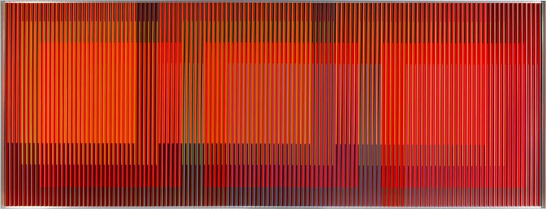 Carlos Cruz-Diez, 'Physichromie Panama 194', 2015, printed aluminum, 47.24 x 125.98 inches (120 x 320 cm).  Unique. Signed, titled and dated verso.