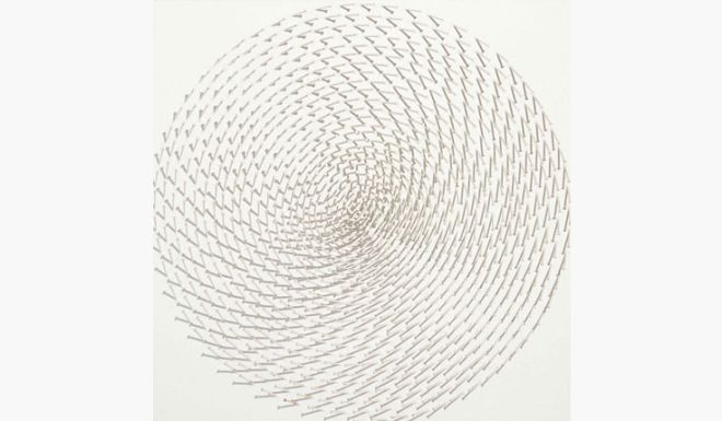 Gunther Uecker (b. 1930), Spirale,  oil and nails on canvas mounted on panel; Painted in 1969.  Price realized: $530,500