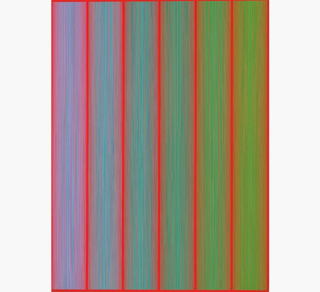 Richard Anuszkiewicz (b. 1930), Rainforest, acrylic on canvas; Painted in 1969. Estimate: $25,000-$35,000.