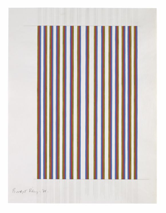 Bridget Riley, 'Untitled [Cerise, Olive and Blue]', 1968, Pencil and gouache on graph paper, 31 3/4 x 24 inches (80,5 x 61 cm)