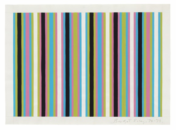 Bridget Riley, 'Untitled [Related to 'Clandestine' and 'Cantus Firmus']', 1972-1973, Pencil and gouache on paper, 15 x 20 1/2 inches (38 x 52 cm).