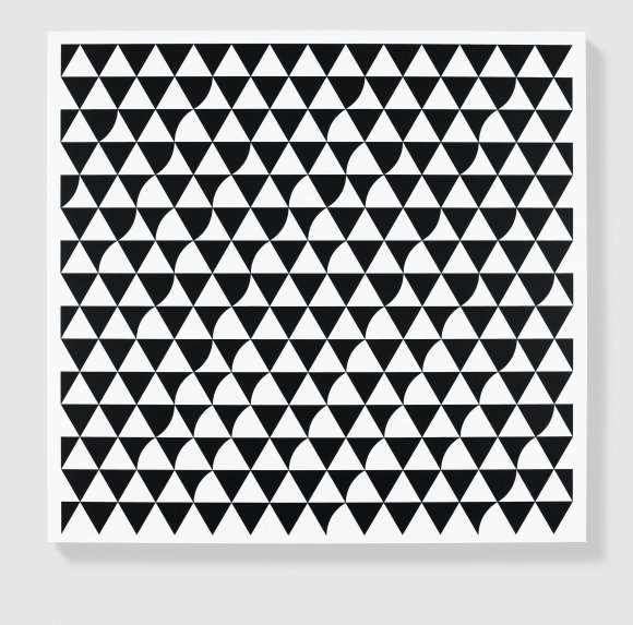 """Bridget Riley, """"Rustle"""",2015. Paintings, acrylic on APF polyester support, 73.5 x 77.25 in. (186.7 x 196.2 cm.)."""