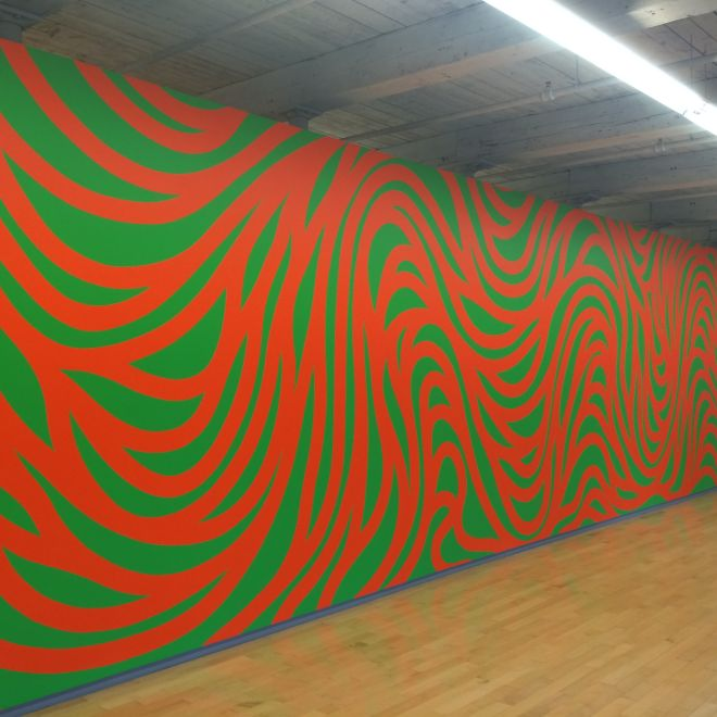 Sol LeWitt, Wall Drawing 880, Loopy Doopy (orange and green).Semptember 1998, Acrylic paint Addison Gallery of American Art.