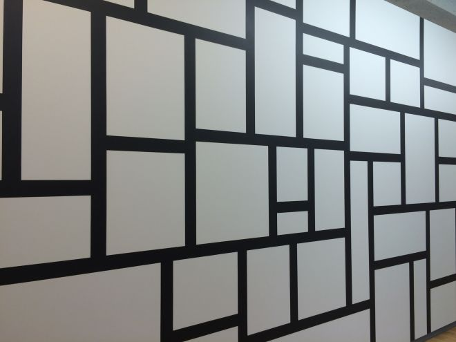 Sol LeWitt, Wall Drawing 614, Rectangles formed by 3-inch (8 cm) wide India ink bands, meeting at right angles. July 1989 India ink , Yale University Art Gallery, Gift of the artist