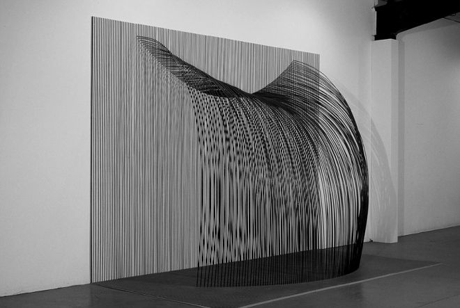 "Tom Orr, Waterfall, side, 122"" x 184"" x 84"", steel, paint, wood"