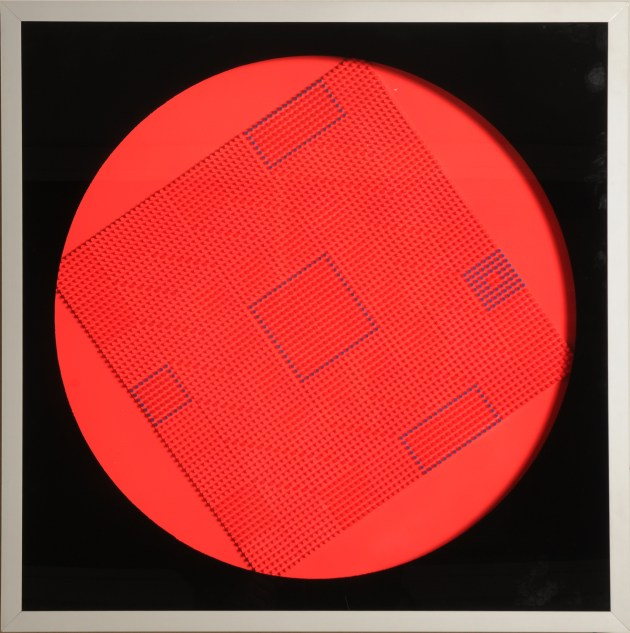 11-Oggetto Quadro ruotante Random, 1975, mixed media with electromotor, 29.5x29.5in
