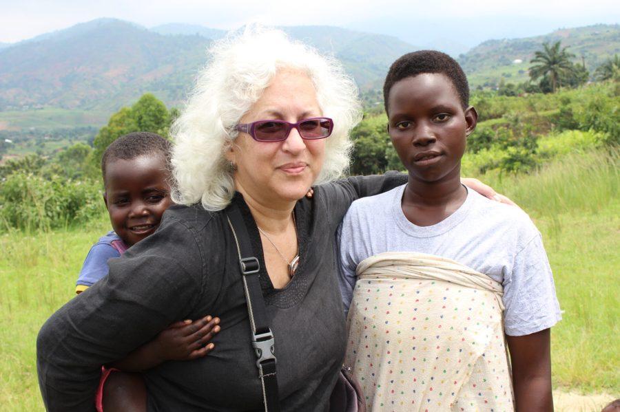 Leslie with locals
