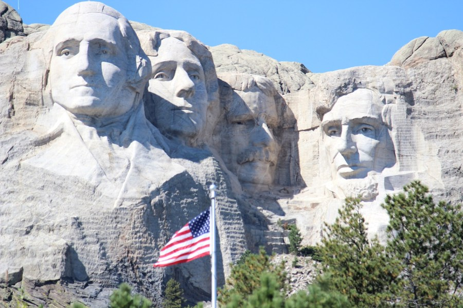 Mount Rushmore with Flag