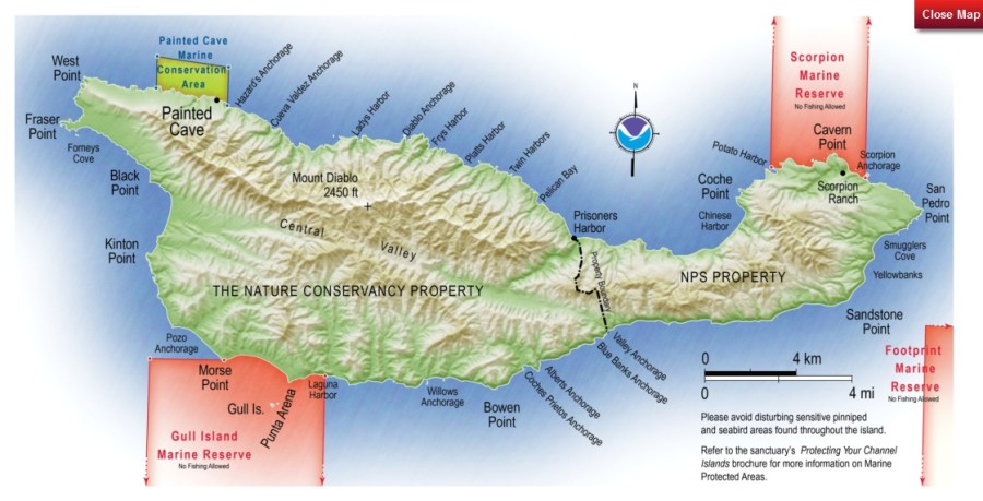 Santa Cruz Island Map - c/o Island Packers