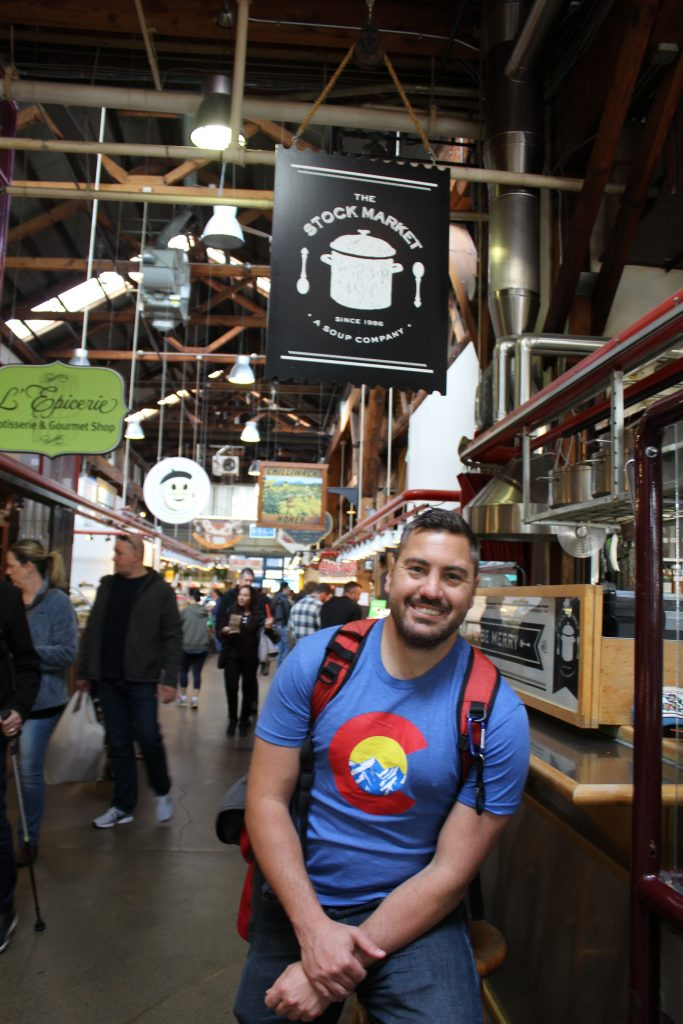 Brendan at Granville Market on the Vancouver City Tour