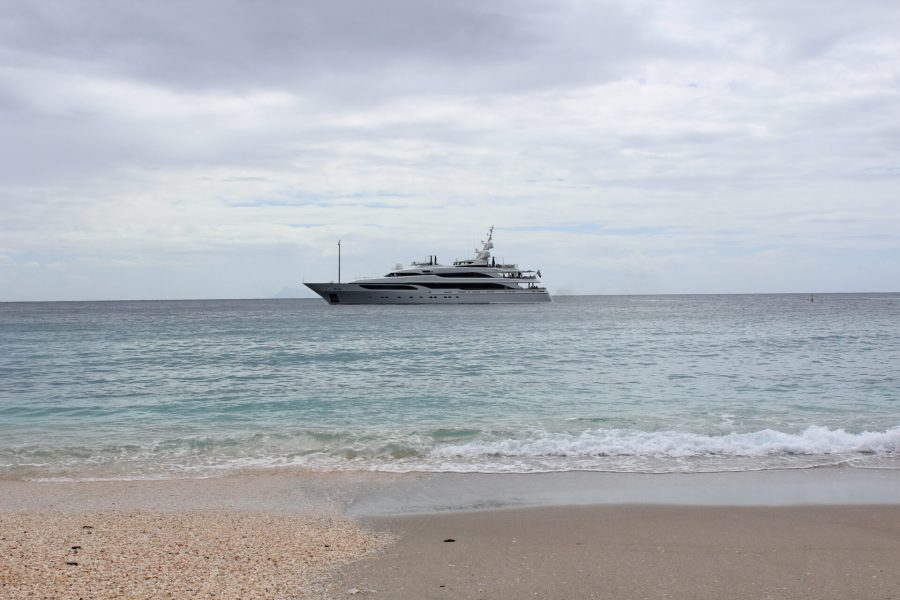 Fancy yachts like this anchored throughout the day
