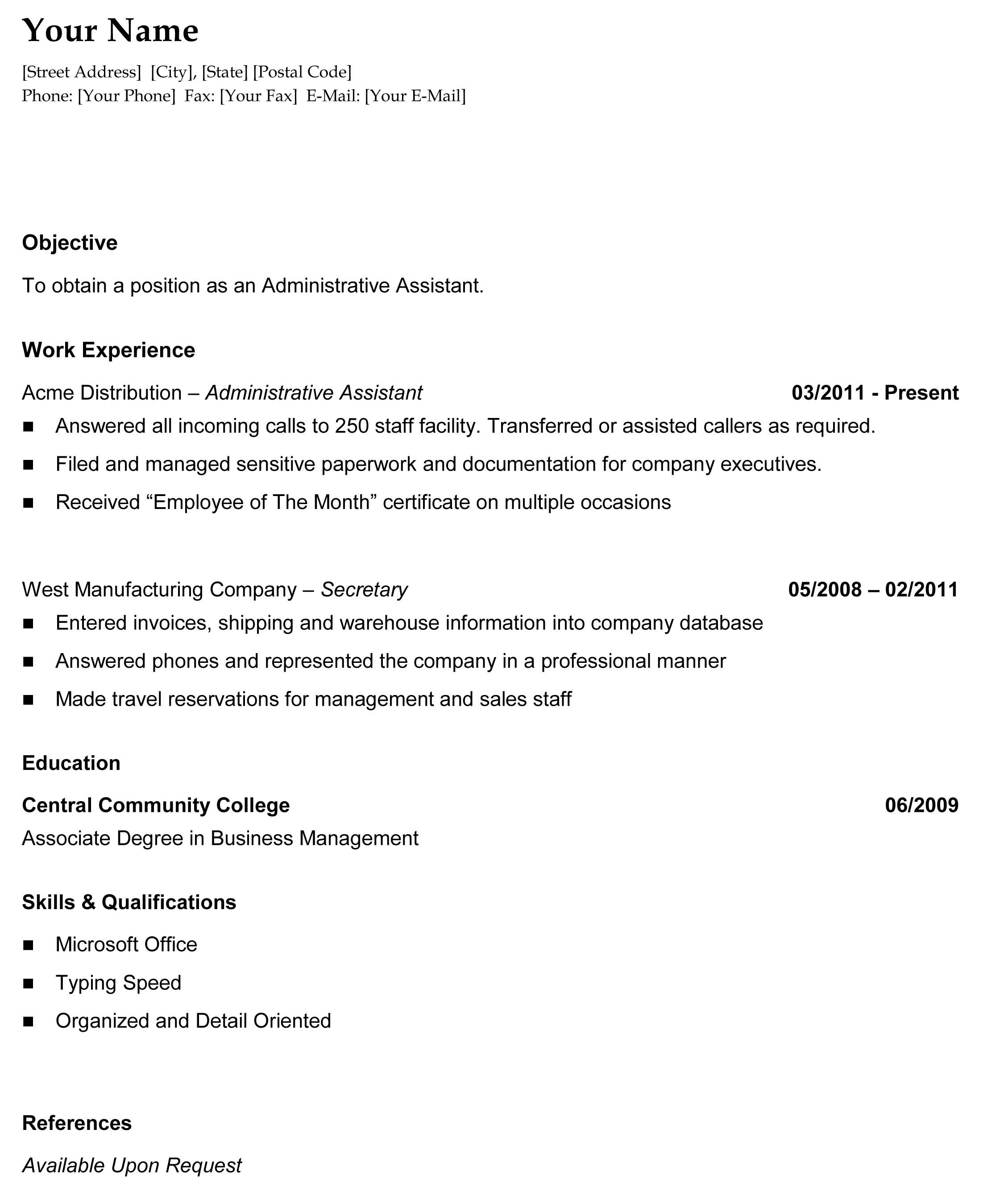 example psw resume template example cover letter template general chronological resume the resume template site example - Chronological Resume Examples