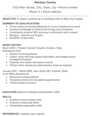 Resume objective for hospital