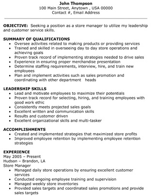 Retail Clothing Store Assistant Manager Resume. Retail Store