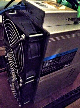 Aisen a1 LoveCore 23TH used miner in operation.